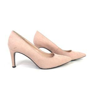 Zara pink faux suede heels!